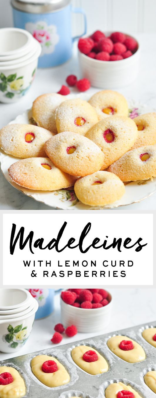 Madeleines with Lemon Curd & Raspberries #madeleines #rachelkhoo #littlepariskitchen #french
