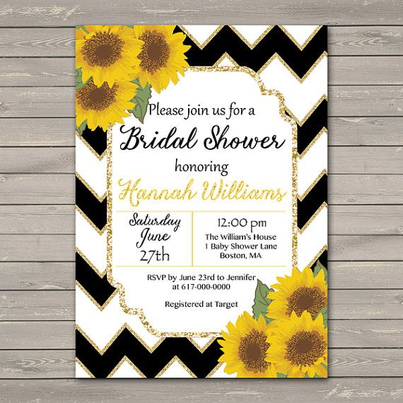Sunflower Bridal Shower Invitation, Sunflowers Black White Gold Chevron Bridal Shower, Sunflower Baby Shower, Birthday Printable JPEG