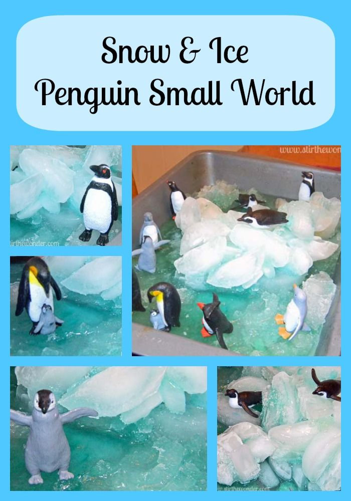 Snow & Ice Penguin Small World | Stir the Wonder #kbn #handsonplay #sensory #smallworld