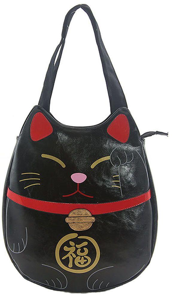 Sleepyville Critters Lucky Welcoming Cat Maneki Neko Vegan Black Tote Bag Purse #SleepyvilleCritters #ShoulderBag