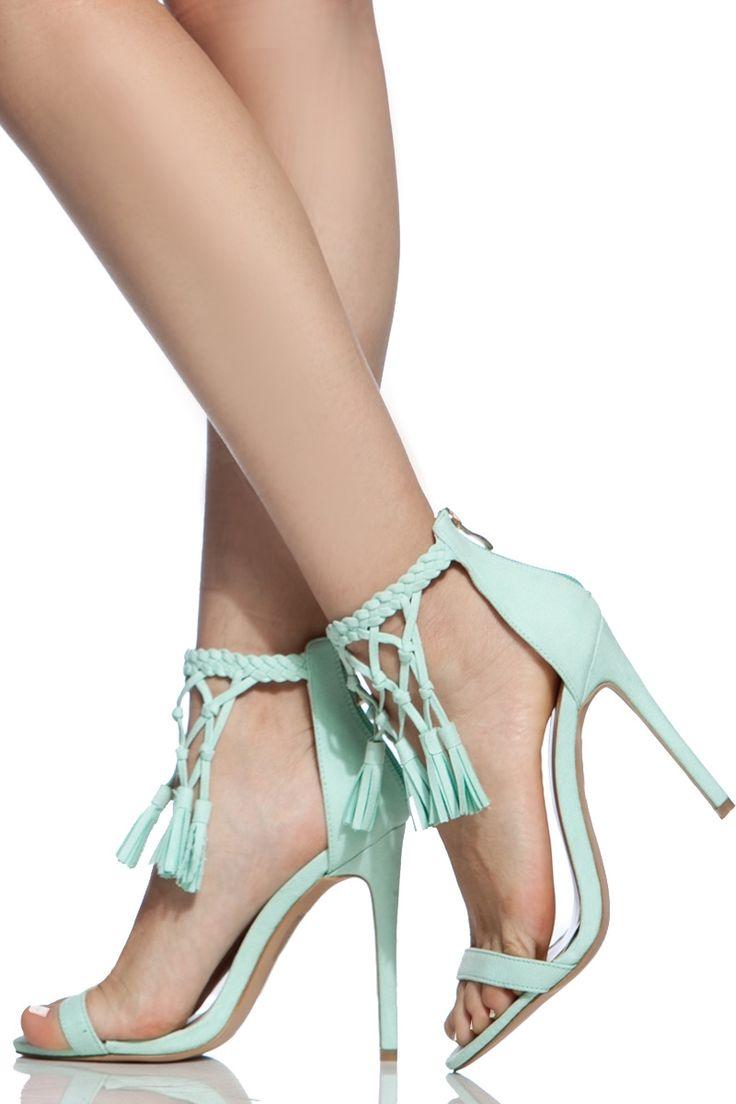 Mint Faux Suede Fringe Tassel Single Sole Heels @ Cicihot Heel Shoes online store sales:Stiletto Heel Shoes,High Heel Pumps,Womens High Heel Shoes,Prom Shoes,Summer Shoes,Spring Shoes,Spool Heel,Womens Dress Shoes