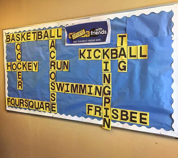 "Here is a neat P.E. Bulletin Board idea that a parent created for our P.E. Department.  It's titled ""Sports With Friends"" and it includes physical activities on it."