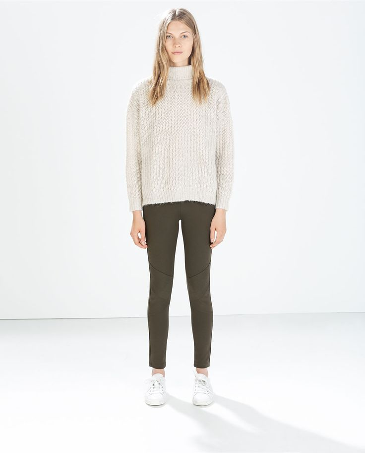 LEGGINGS WITH ZIPS AND TOPSTICHING AT KNEES from Zara & OVERSIZE JACKET WITH POCKETS