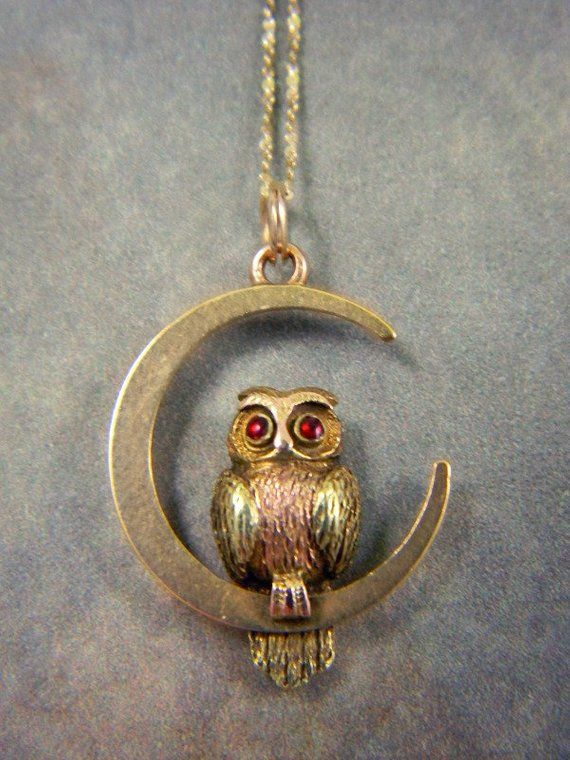 Antique Victorian 15ct Owl And Crescent