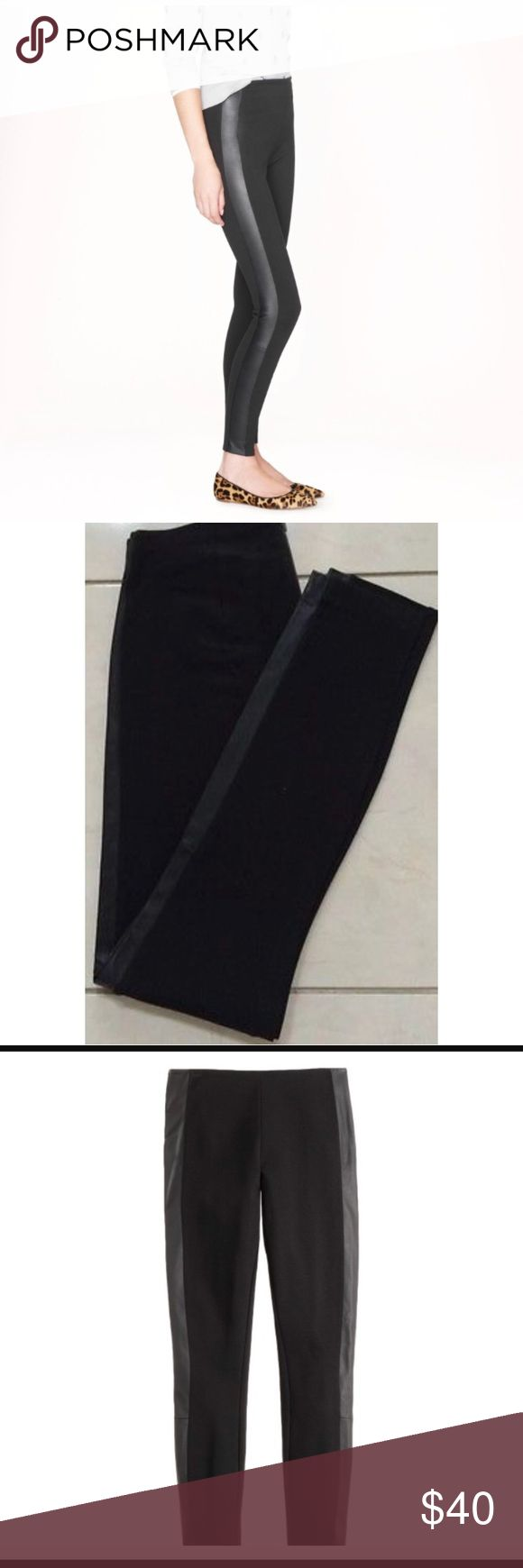 J. Crew pixie leather tuxedo stripe pant Worn twice, J. Crew leather tuxedo stripe pixie pant, size four, like new, stretchy, 👑No trades👑, zipper closure located in back J. Crew Pants