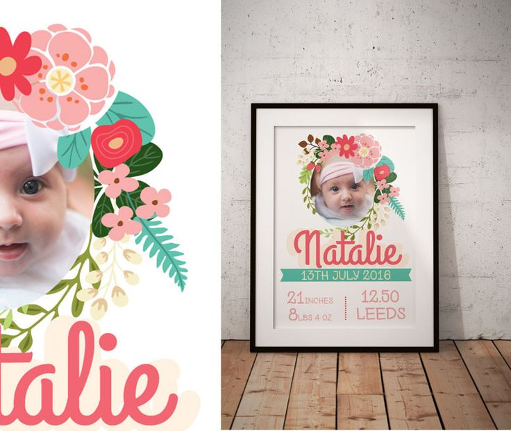 Flower Frame birth certificate Baby Info Board by RudaMama