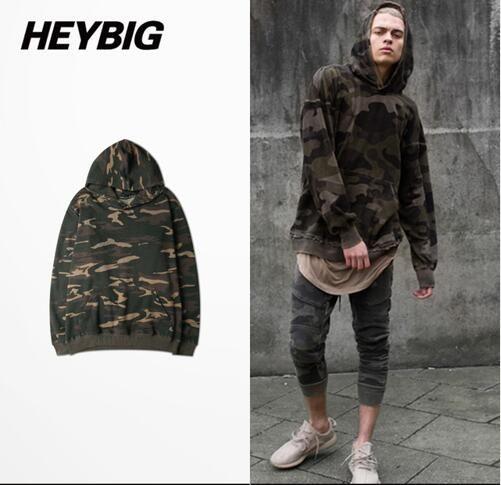 HEYBIG Fashion streetwear Hood Camo Men Sweatshirts Tactical Tracksuits Kanye West Camouflage West Coast Hip hop Hooded Pullover