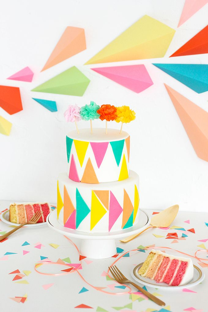 Children will love this !! OMBRE GEOMETRIC CAKE & BACKDROP DIY | www.homeology.co.za