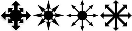 The Chaos star is a spoked device with eight equidistant arrows radiating from a central point. It was originally devised by the fantasy author Michael Moorcock as a symbol of chaos (infinite possibility), and has been adopted as a symbol of Chaos Magick. Its current rounded shape was devised by occult author and chaos magician Peter Carroll. The chaos wheel is a popular decorative emblem for jewelry and clothing.