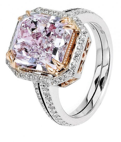 Michael Beaudry, 53.09ct Fancy Pink Purple Radiant Diamond set in Platinum and Rose Gold michaelbeaudry.com