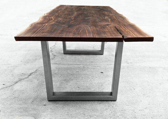 wooden dining table with wrought iron legs diy metal ikea live edge steel interiors tables
