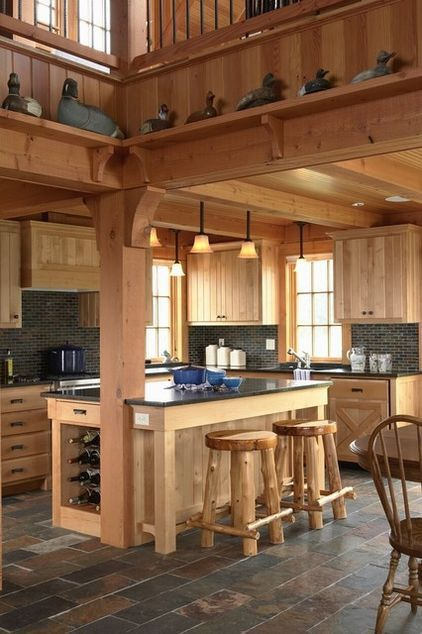 Kitchen bar wood table chair wall design
