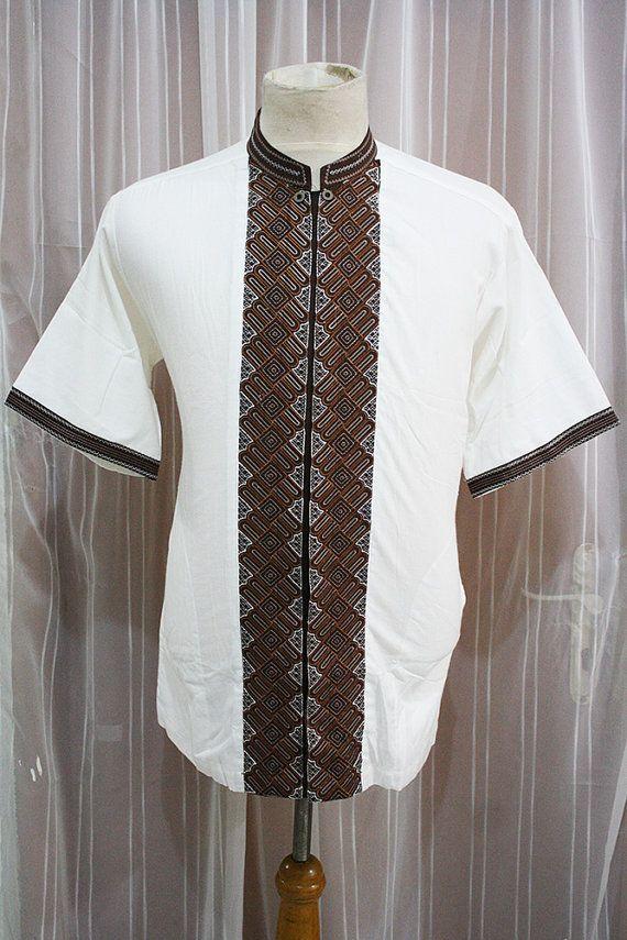 ELEGANT ivory white shirt cotton Indonesian by aboyshop on Etsy, $29.99