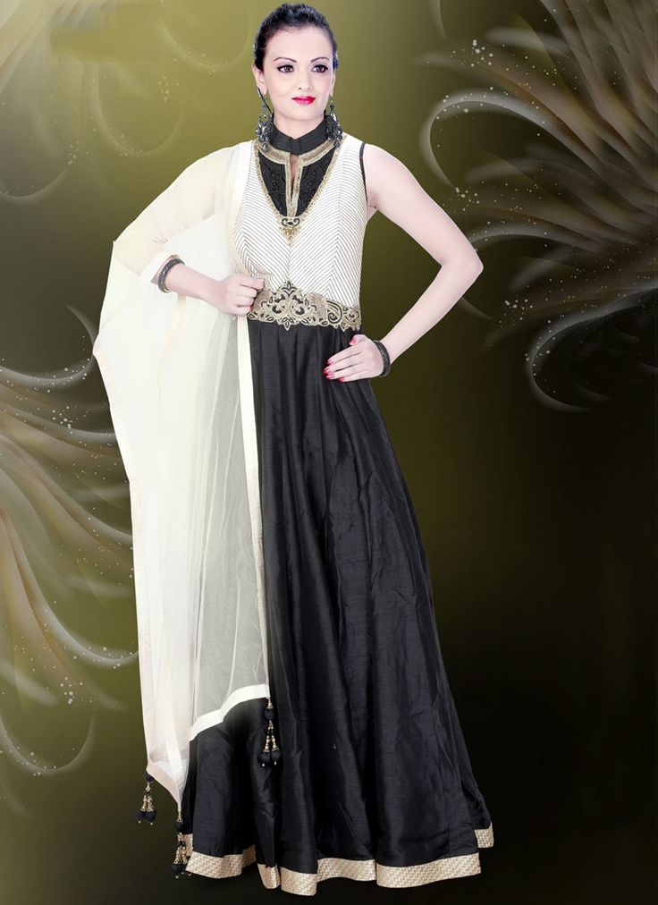 Buy Prime Silk Lace Work Black Readymade Gown
