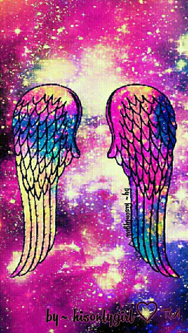 Angel wings galaxy wallpaper I created for the app CocoPPa.