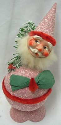 Old Santa Candy Container COCONUT trim,Compo, GERMANY