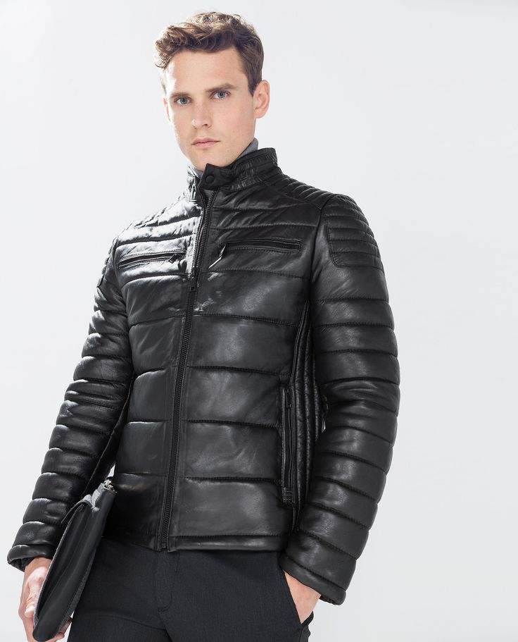 QUILTED LEATHER JACKET from Zara