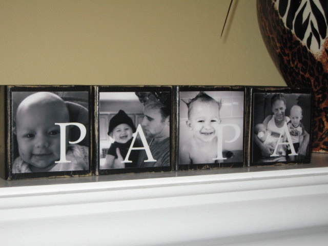 PHOTO BLOCKS - Perfect Fathers Day Gift - Grandparents Gift Grandpa, Grandma, Papa Gifts- Price is for a Set of 4 Blocks. $36.00, via Etsy.