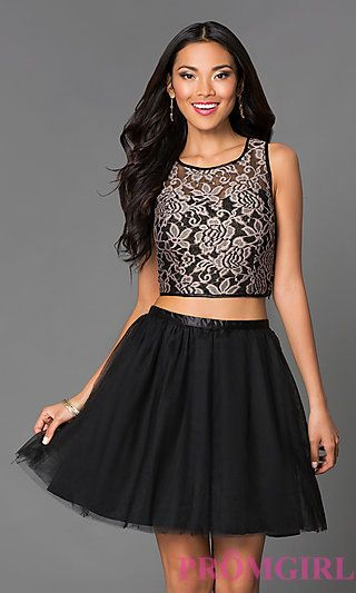 Short Two Piece Lace A-Line Dress 2215 by Emerald Sundae at PromGirl.com Back up if dream dress is too much.