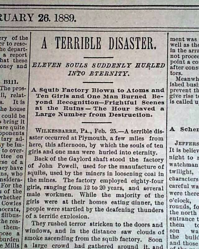 February 1889 squib factory explosion in Plymouth