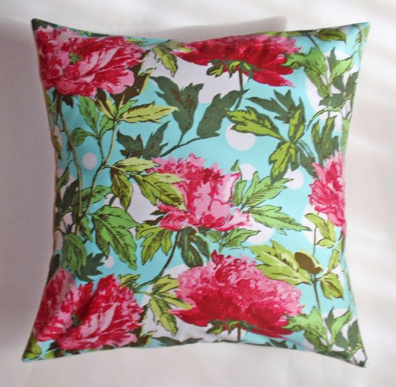 """Throw Pillow Covers, Toss Pillows, Accent Pillows, Decorative Cushion Covers, Pink Peony Floral Pillows, Amy Butler Fabric, 16x16"""" Square"""