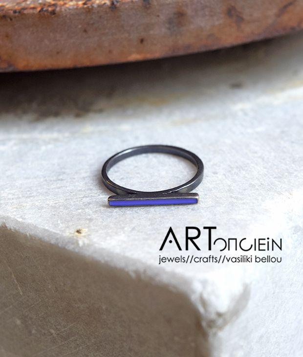 Δαχτυλίδι με σμάλτο Atelier Errikos – μπλε
