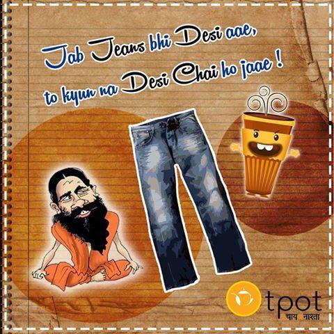 Jab Jeans bhi Desi aae , To kyun na Desi chai ho jaae ! Patanjali Organic jeans-Paridhaan Best wishes!  Baba Ramdev Patanjali Products - पतंजली उत्पाद #MakeInIndia #patanjali #babaramdev #patanjaliproducts #greatconcept #swadeshijeans #makesomenoisedesiboys #sanskaarijeans #Indiamatters #paridhaan #desichai #TPot #Tealovers #Teaaddicts #jeans #organicjeans #Chaimasti