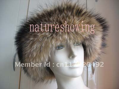 Женские меховые шапки / шапки полностью ручной работы ( натуральный коричневый )