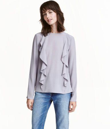 Ruffled Silk Blouse   Dusky purple   Ladies   H&M US