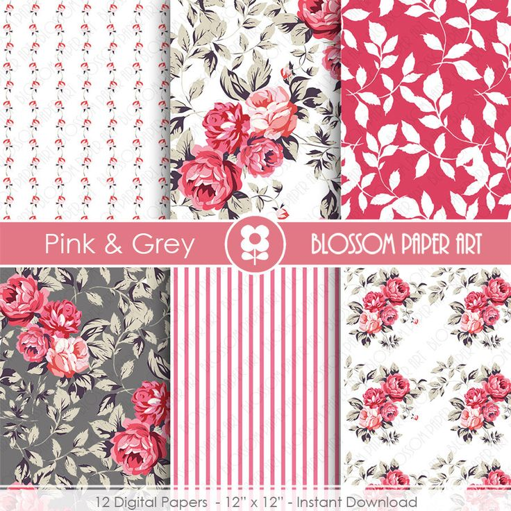 Digital Paper Floral Paper Pink Grey Paper Pack Wedding