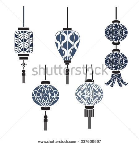 Chinese lamp vector - stock vector