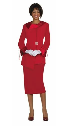 GMI-Group Womens Usher Suit G12572- Two-piece fully lined suit made out of 100% polyester. Jacket has asymmetrical satin collar and rhinestone buckles. Available in 3 colors. These skirt suit uniforms are perfect for church or any major event!  Colors: Red, White, Black
