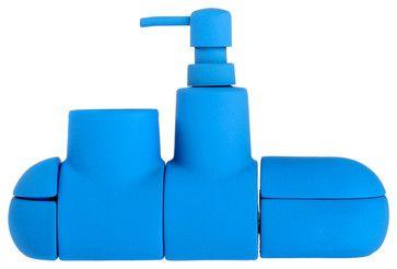 Submarino Bathroom Set, Blue - contemporary - Bathroom Accessory Sets - Walker Shop