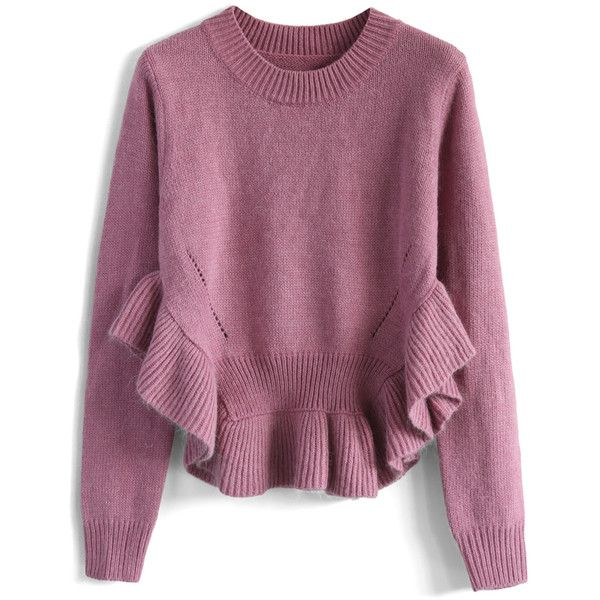 Chicwish Adorable Frilling Hemline Sweater in Violet ($51) ❤ liked on Polyvore featuring tops, sweaters, jumpers, pink, ruffle hem top, flounce tops, purple jumper, frilly tops and purple top