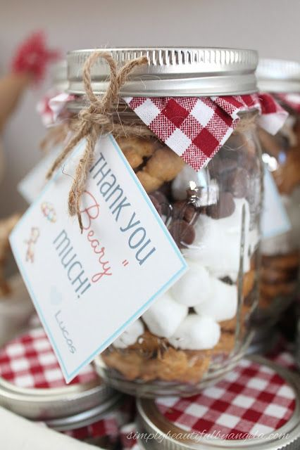 Simply Beautiful By Angela: Teddy Bear Picnic First Birthday Party. DIY 1st Birthday Party on a Budget. S'more in a jar favors.