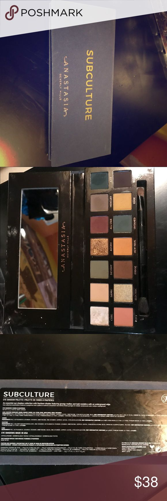 Anastasia Beverly Hills subculture pallete Gently used. Recently dyed my hair ppl and i don't reach for this often. Could use the money so I'm selling. If not I'll just keep it. Price is firm! Still have receipt to prove it's authentic! Bought online the first day it was released! Comes with brush! Anastasia Beverly Hills Makeup Eyeshadow