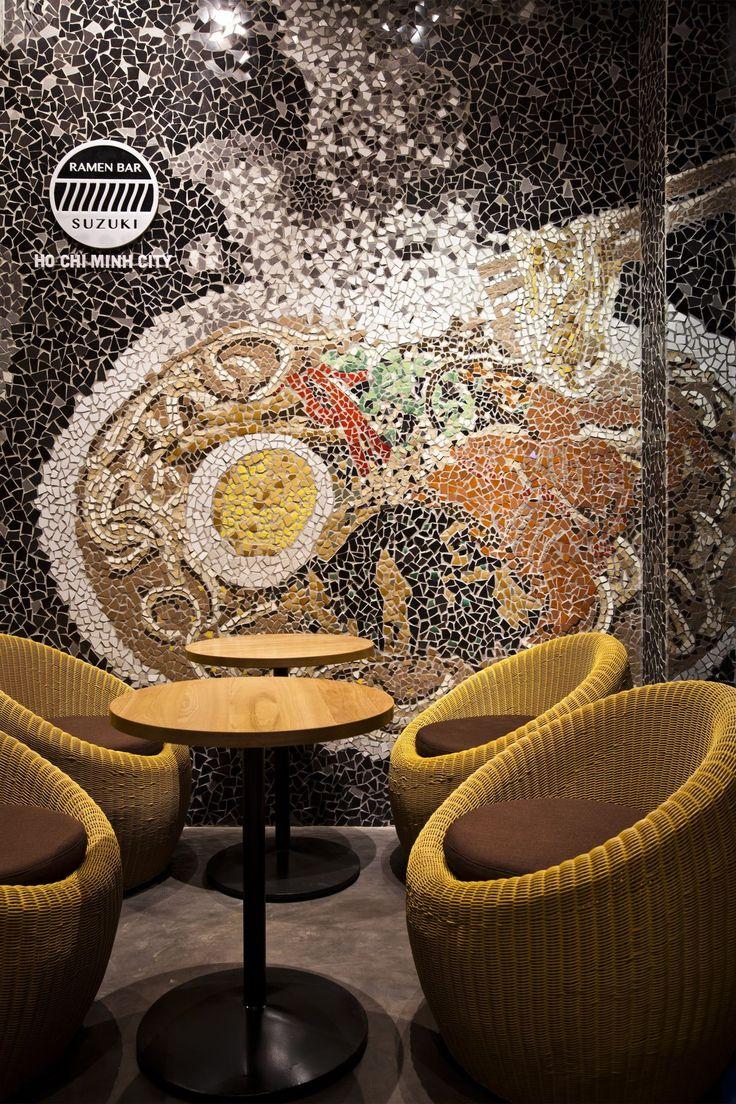 Cool Ramen Restaurant in Vietnam Integrating a Mosaic Wall