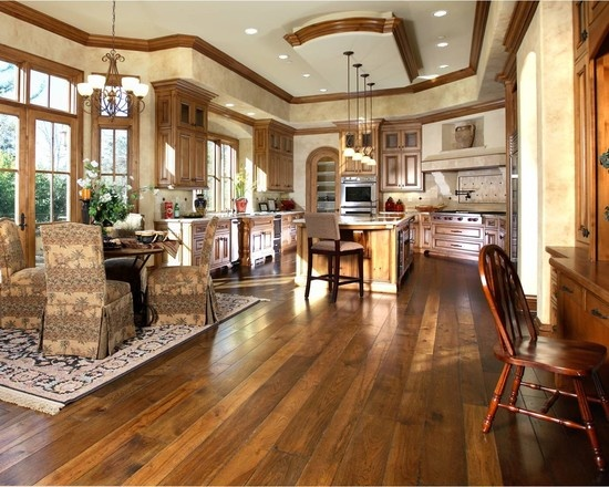 Hickory floors white ceiling wood trim dream house for Traditional kitchen flooring