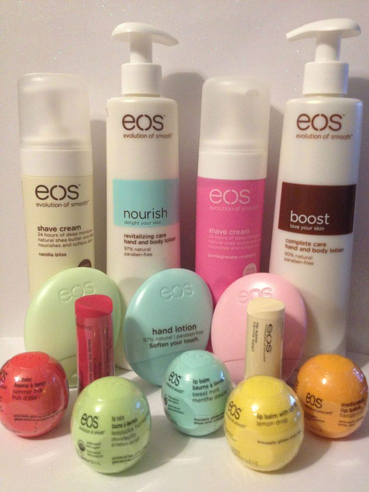 EOS LIP BALM SMOOTH SPHERE, SMOOTH STICK, SHAVE CREAM, HAND & BODY LOTION. I like all of these except the shaving cream.