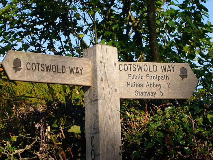 Signpost along the Cotswold Way. There are public footpaths and cycle paths everywhere.