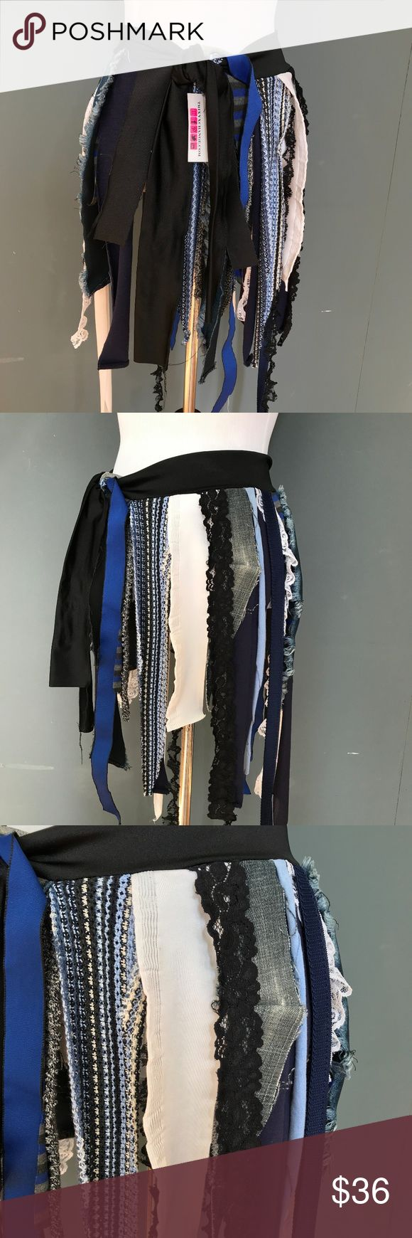 "Recycled Blue Fringe Wrap Skirt - One Size S-2XL Fringe Wrap Skirt Plus Size Small Large Blue Black Lace Club Edm Edc Clothing XL  HANDMADE & READY TO SHIP!  One of a kind! Very flexible sizing as this is a wrap skirt, and it can be wrapped around twice for smaller sizes. Made from all recycled materials.  Dance the day or night away in this upcycled skirt! Wear it over leggings, boy shorts, bikinis or other skirts.  Size: One Size Total Waistband Length: 63"" - Fringe covers 31"" of the…"