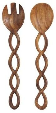 Twisted Wood Salad Servers Set - contemporary - serving utensils - Pier 1 Imports