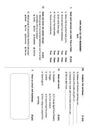 English worksheet: Science Quiz