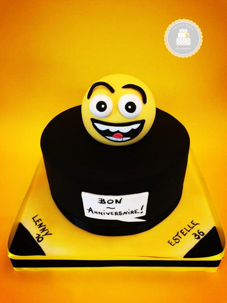 #Cake design thème #Smiley / jaune et noir / sur 1 étage / #smiley en sucre faits mains / By Sweet Kate / #pateasucre / #SweetKate /