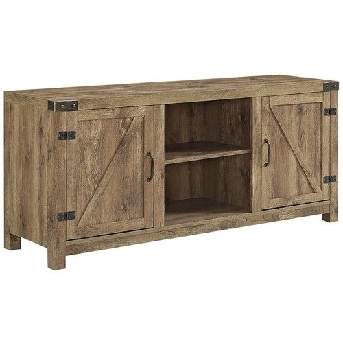 Walker Edison Rustic Barn Door Style Stand For Most Tvs