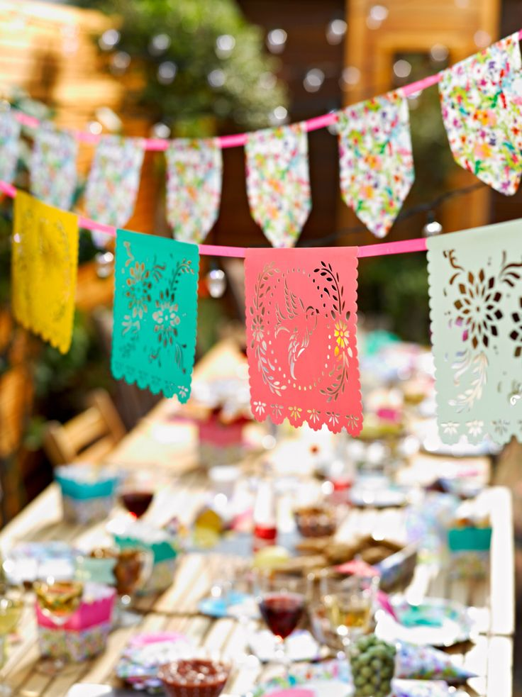 Papel Picado | Mexican Fiesta | Quinceanera Decor | Garden Bunting | Floral Bunting | Garden Parties | Baby Shower Decorations | Girly by thepartiesthatpop on Etsy https://www.etsy.com/listing/238343518/papel-picado-mexican-fiesta-quinceanera