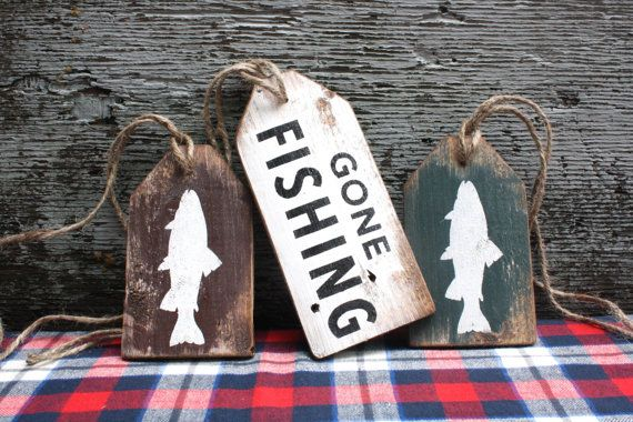 Gone Fishing Wood Tags Rustic Decor Distressed Cabin Decor