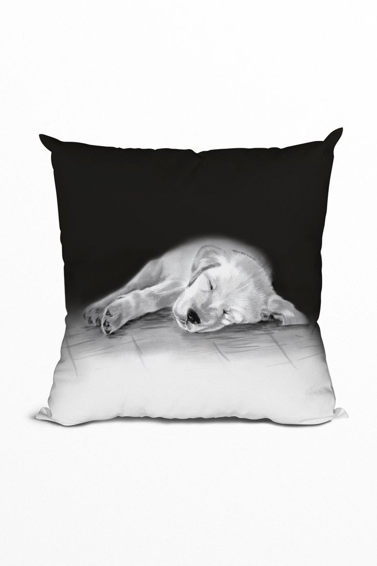 This throw pillow has been inspired by my pencil drawing of this cute golden retriever puppy. It'll add the ultimate aww-factor to your decor! #pillow #blackandwhite #cute #homedecor #cushion