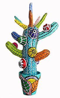 Cactus DE PAPEL MACHE MUY COLORIDO!!! LO AME