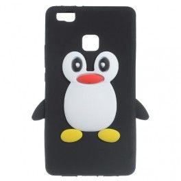 Huawei P9 Lite musta pingviini silikonikuori.